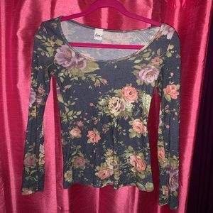 ... Soft flower off the shoulder long sleeve top Red and black ... 7a2a93034